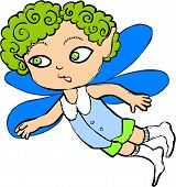 stock photo of thumbelina  - The fairy flies on wings and smiles - JPG