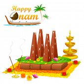 picture of onam festival  - illustration of decorated onathappan for Onam celebration - JPG