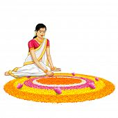 image of onam festival  - illustration of woman making rangoli for onam - JPG