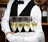 image of serving tray  - professional waiter in uniform is serving wine - JPG