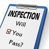 stock photo of inspection  - inspection clipboard with check boxes marked for will you pass - JPG