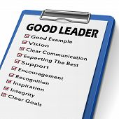 foto of clipboard  - good leader clipboard with check boxes marked for leadership concepts - JPG