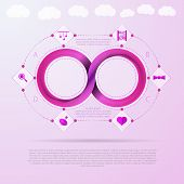 stock photo of mobius  - Pink infinity sign with silhouette baby things signs around - JPG