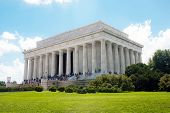 foto of abraham  - Abraham Lincoln Memorial located in Washington DC USA at one end of the Reflection Pool - JPG