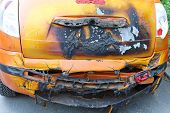 stock photo of infernos  - Melted and dameged car after fire inferno - JPG