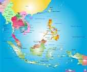 foto of south east asia  - Vector color southeast asia map - JPG