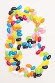 foto of jelly beans  - Jelly beans in the shape of the letter - JPG
