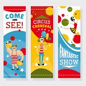 pic of strongman  - Circus banners vector illustration - JPG