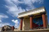 stock photo of minos  - Reconstructed Temple at the Palace of Knossos on the Island of Crete Greece - JPG