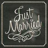 foto of married  - Just Married lettering sign on chalkboard background - JPG