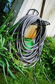 picture of coil  - A Coiled Garden Hose Ready to Use - JPG