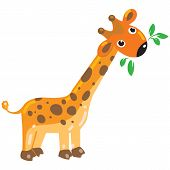 picture of heartwarming  - Cheerful giraffe with green leafs - JPG