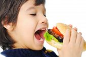 stock photo of junk food  - Burger fast food and a beautiful  children - JPG