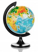 picture of hemisphere  - Close up photo of globe on white background - JPG