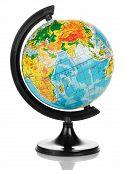 picture of hemisphere  - Close up photo of globe on white background - JPG
