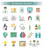 picture of astronomy  - Set of modern flat vector icons of different scientific spheres such as math - JPG