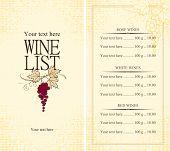 stock photo of vines  - Vectors Menu wine list with grape vine - JPG