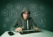 stock photo of virus scan  - Young nerd hacker with virus and hacking thoughts on green background - JPG