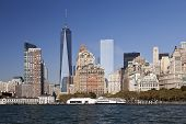 picture of freedom tower  - The New York City skyline at afternoon w the Freedom tower 2014