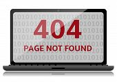 stock photo of not found  - 404 Error file not found on laptop screen - JPG