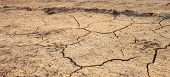 stock photo of drought  - Cracked waterless ground at summer drought . Natural disasters desert background ** Note: Shallow depth of field - JPG
