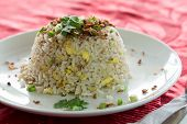 picture of chinese parsley  - Chinese style fried rice served on white plate  - JPG