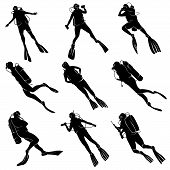 picture of spearfishing  - Set of silhouettes scuba diving in different poses - JPG