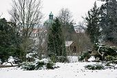 stock photo of tomas  - Topolcianky castle with snowy park in winter - JPG
