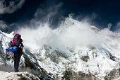 pic of cho-cho  - view of Cho Oyu with trekker  - JPG