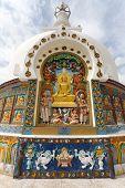 image of jammu kashmir  - Detail of Tall Shanti Stupa near Leh  - JPG