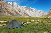 pic of jammu kashmir  - Tent in Himalayan mountains  - JPG