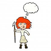 stock photo of spears  - cartoon woman with spear with thought bubble - JPG