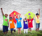 image of kites  - Children Friends Kite Colourful Kids Smiling Concept - JPG