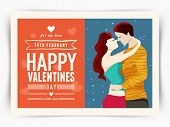 picture of february  - Beautiful greeting card design with young couple in love for 14 February - JPG