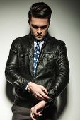 picture of down jacket  - Business man in leather jacket - JPG