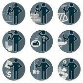 picture of plumber  - House remodel service worker set flat round symbolic icons in blue colors Workers repair team Architect designer insurers foreman plumber electrician mason tiler carpenter builder finisher painter gardener landscaping - JPG