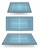 stock photo of deuce  - Set of blue tennis courts with perspective - JPG