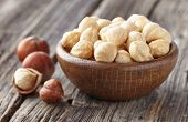 stock photo of cobnuts  - Hazelnuts kernel - JPG