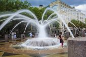 pic of fountains  - Kids playing in fountain in downtown Charleston South Carolina - JPG