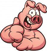 stock photo of pig  - Cartoon pig with thumb up - JPG