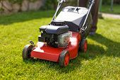 foto of grass-cutter  - Pensioner mowing lawn with rec machine outdoor - JPG