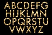 image of marquee  - Broadway style marquee alphabet isolated on black collection - JPG