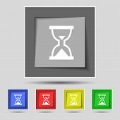 image of sand timer  - Hourglass Sand timer icon sign on the original five colored buttons - JPG