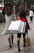 stock photo of christmas-present  - two women shopping in a city street - JPG