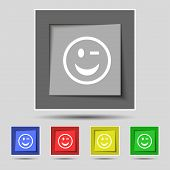 image of eye-wink  - Winking Face icon sign on the original five colored buttons - JPG