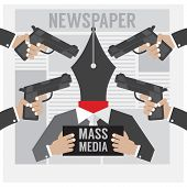 foto of kidnapped  - Mass Media Is The Hostage Vector Illustration - JPG