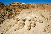 foto of scroll  - The scrolls cave of Qumran in Israel where the dead sea scrolls have been found - JPG