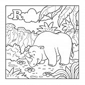 pic of rhino  - Coloring book  - JPG