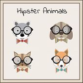 stock photo of dog clothes  - Hipster animals set vector - JPG