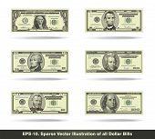 picture of twenty dollars  - Sparse vector illustration of all dollar bills - JPG